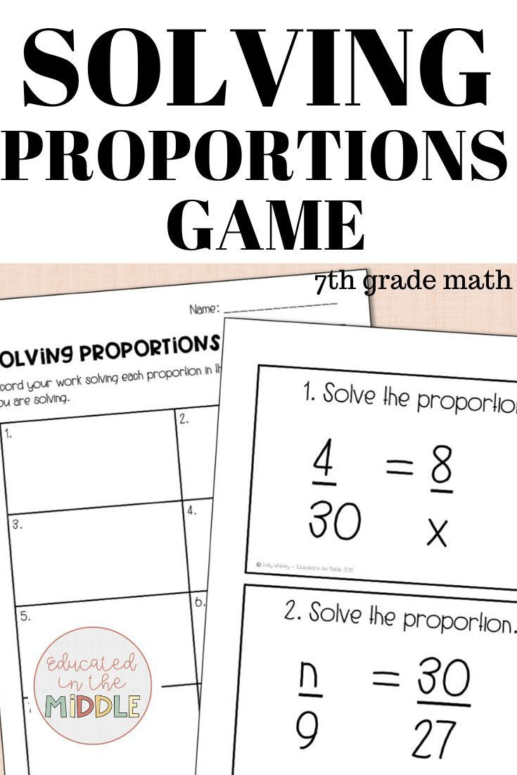 small resolution of ratio and proportion activities for 7th grade math; Solving proportions  game; so…   Solving proportions