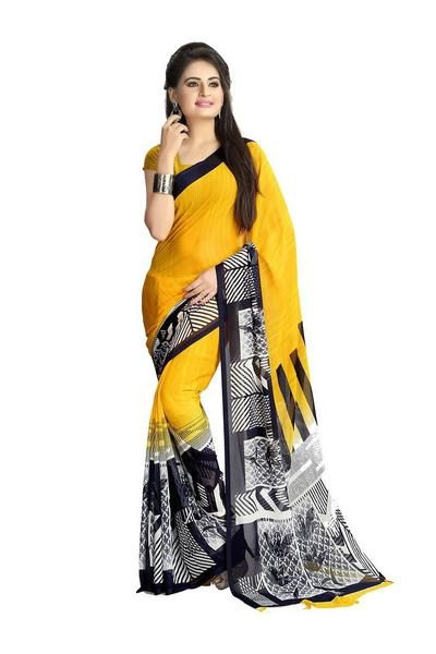 LadyIndia.com #Printed Sarees, Chiffon Printed Saree Yellow - Designer Casual Sarees, Printed Sarees, Casual Sarees, Formal Sarees, Office Wear, Sarees, https://ladyindia.com/collections/ethnic-wear/products/chiffon-printed-saree-yellow-designer-casual-sarees