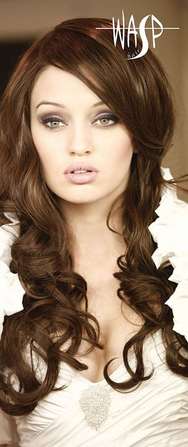 Brunette Hair extensions, curled, quiffed and styled, all hair and make up products available at Wasp Hair. | Wasp Hair
