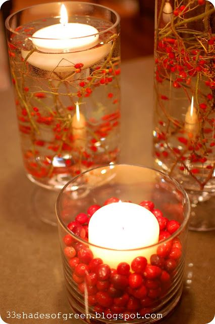 Handmade Holidays. . .Easy Centerpiece Idea.  I will have to beautify my Gold Canyon floating candle set. https://jessicagerhardt.mygc.com