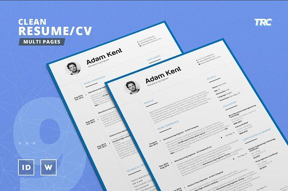 Clean Resume/Cv Template Volume 9 by TheResumeCreator on @creativemarket