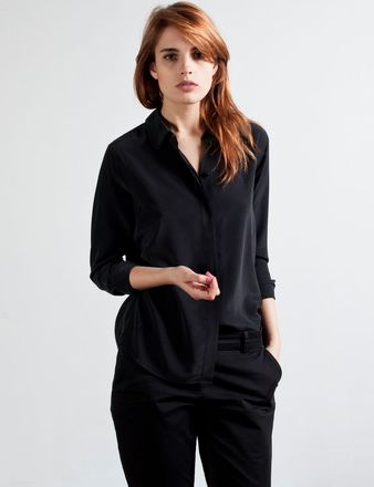 My classic black shirt just wore out. Need a new one!  Everlane black silk point blouse L $78