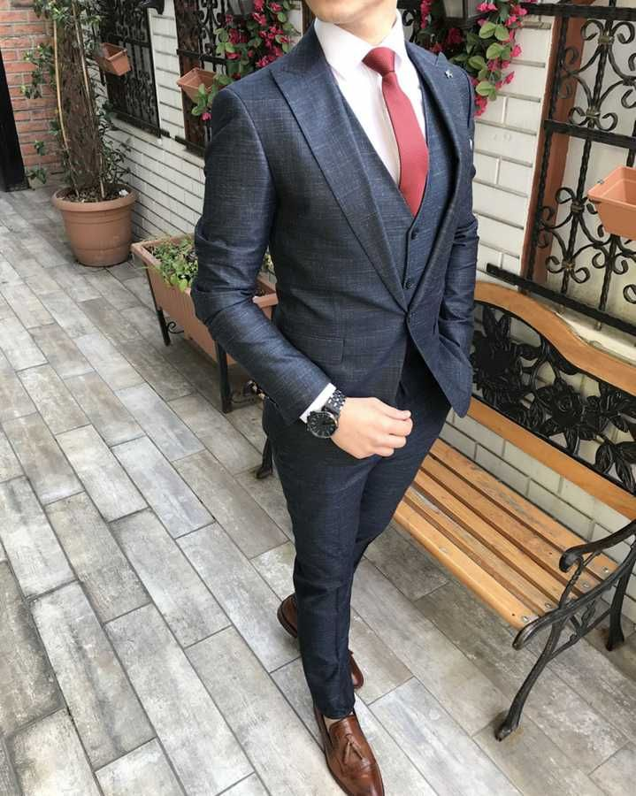 23869d4bd7f91 Terziademaltun - İtalyan stil slim fit ceket yelek pantolon lacivert takım  elbise T3039 (1)
