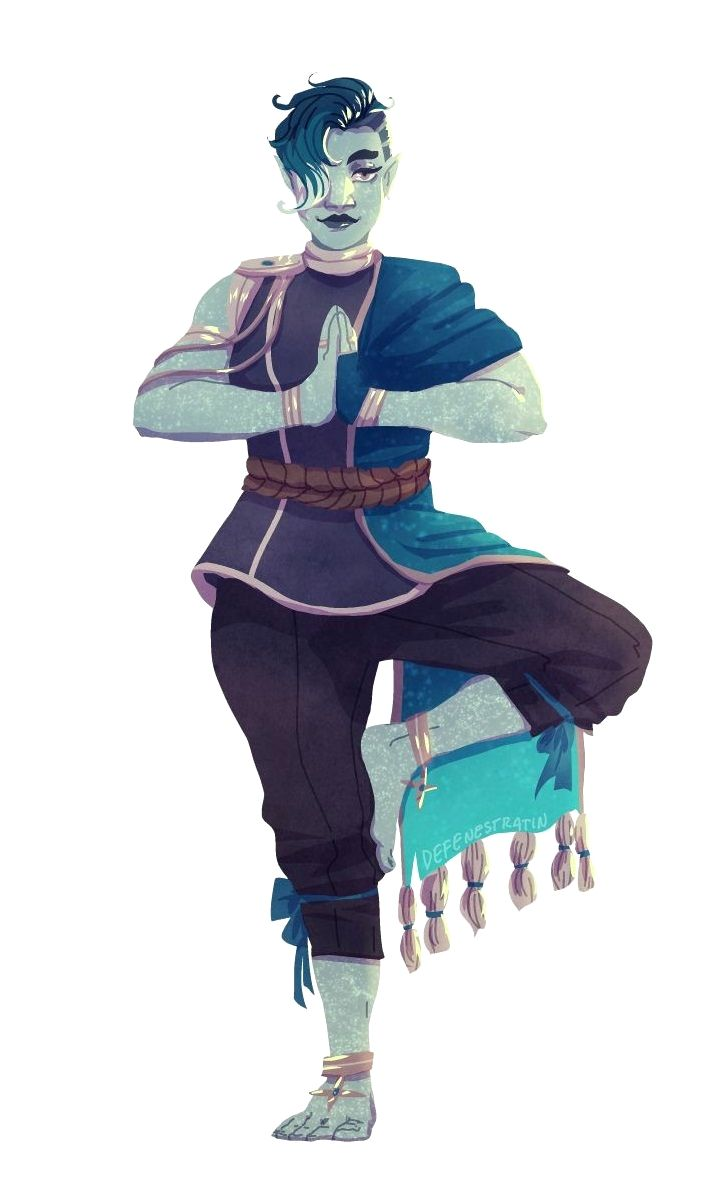 Female Undine Monk - Pathfinder PFRPG DND D&D 3.5 5th ed d20 fantasy