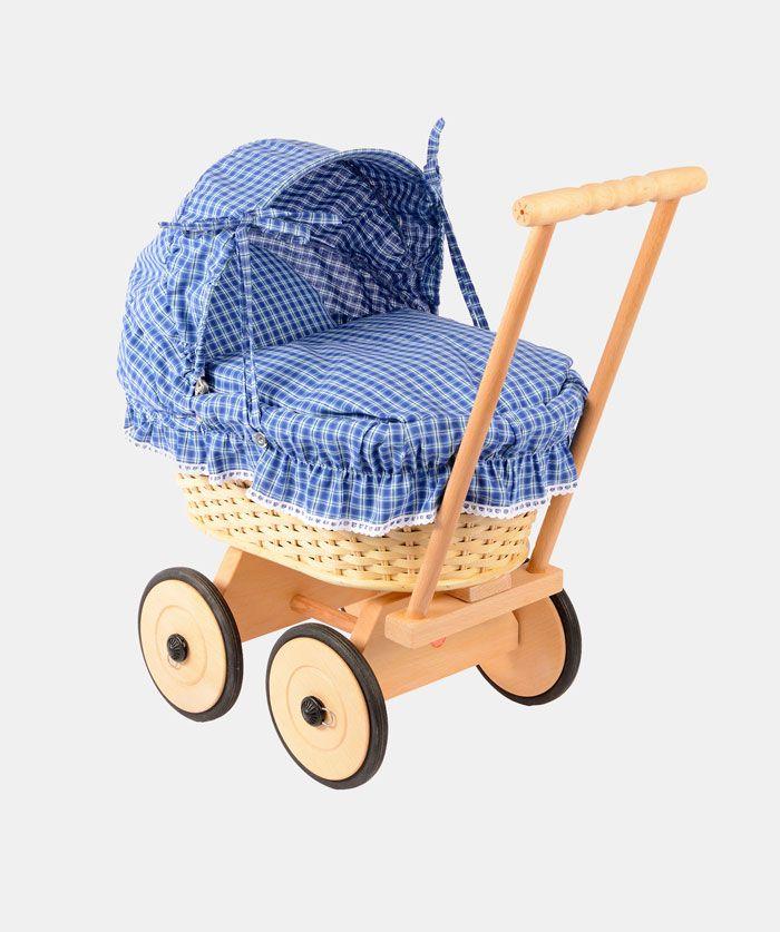 korb puppenwagen mit gepunktetem faltdach aus baumwolle werkstatt bruckberg echtkind. Black Bedroom Furniture Sets. Home Design Ideas