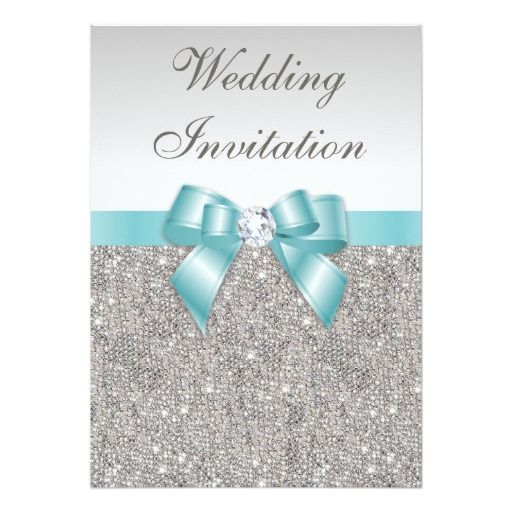 Printed Silver Sequins Diamonds Teal Bow Wedding Personalized Announcements