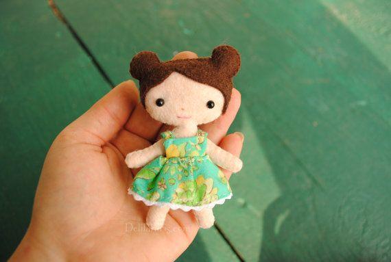 Tiny Felt Doll Pattern Miniature Pocket Doll by DelilahIris