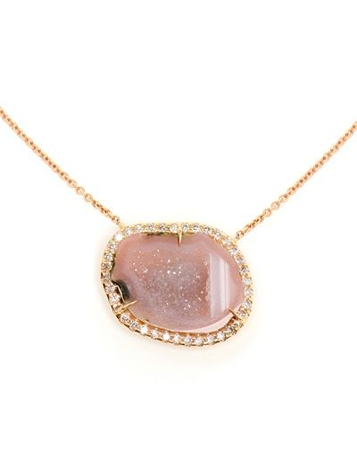 KIMBERLY MCDONALD Pink Geode And Rose Gold Pendent