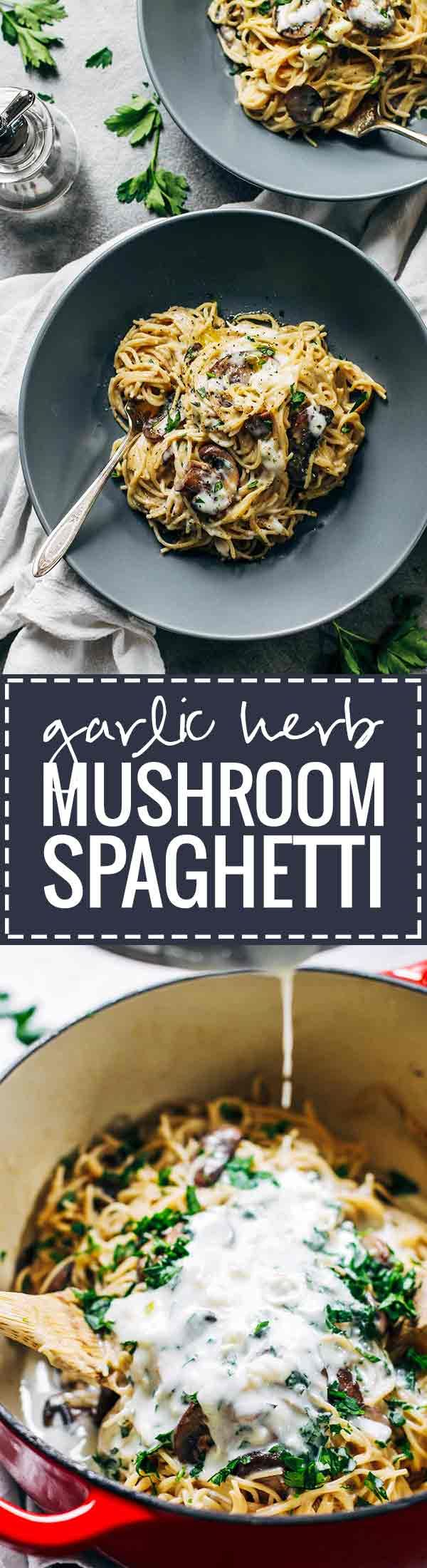 Creamy Garlic Herb Mushroom Spaghetti   this recipe is total comfort food  Simple ingredients  ready in about 30 minutes  vegetarian