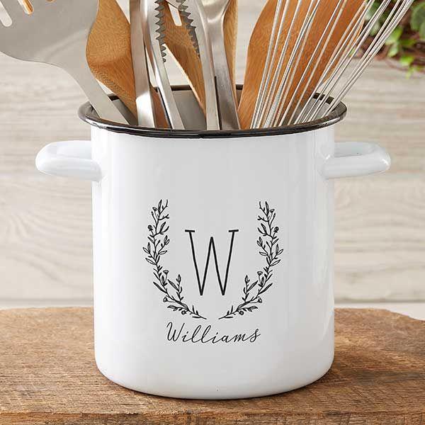 farmhouse floral personalized enamel kitchen utensil holder utensils holder diy kitchen on farmhouse kitchen utensils id=99532