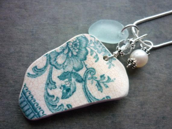 Teal Sea Glass Necklace Pottery Sea Beach Pottery Jewelry English Sterling Floral Hello, Welcome ! English sea glass necklace is made from a