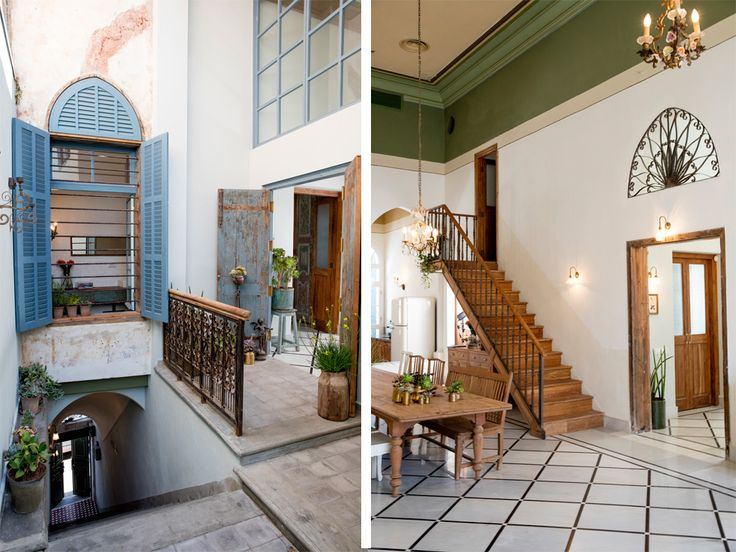 Stairs lead to inner patio leading to main hall renewed anglo palestine bank in jaffa israel