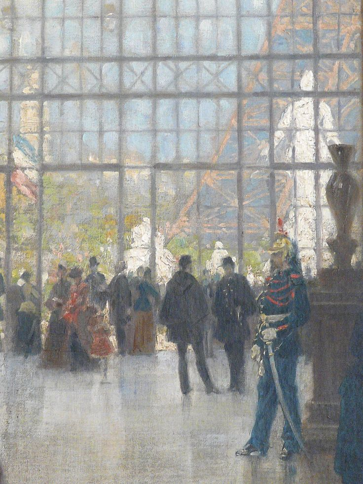 "BEROUD Louis,1889 - Le Dôme Central de la Galerie des Machines lors de l'Exposition de 1889 - Detail 09  -  TAGS/ art painter details détail détails detalles painting Carnavalet museum painters exhibition Paris France Champ-de-Mars urban urbain  people crowd foule visitors visiteurs ""Exposition Universelle""  verrière canopy Eiffel-Tower Tour-Eiffel elegance fashion mode contrôleur ticket-puncher poinçonneur ""jeune femme""  ""young woman"" serving uniforme uniform balcon balcony century…"