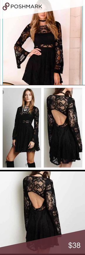 BLACK LACE BOHO DRESS BACKLESS PERFECT LITTLE BLACK DRESS FOR ANY OCCASION LACE DRESS FEATURES LACE BELL SLEEVES. PIPING DETAIL. KEY HOLE BACK OPENING. SEXY LACE ⚜️⚜️⚜️⚜️⚜️⚜️⚜️⚜️⚜️⚜️⚜️⚜️⚜️⚜️ azure bleu Dresses Mini