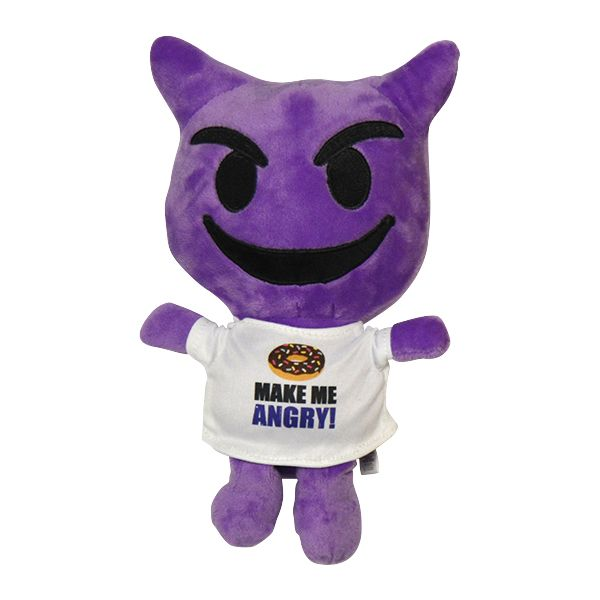 """11″ plush emoji pal that features a purple smiling devil face and a t-shirt that say """"Doughnut Make Me Angry!"""" Choose your favorite emoji or collect them all!"""