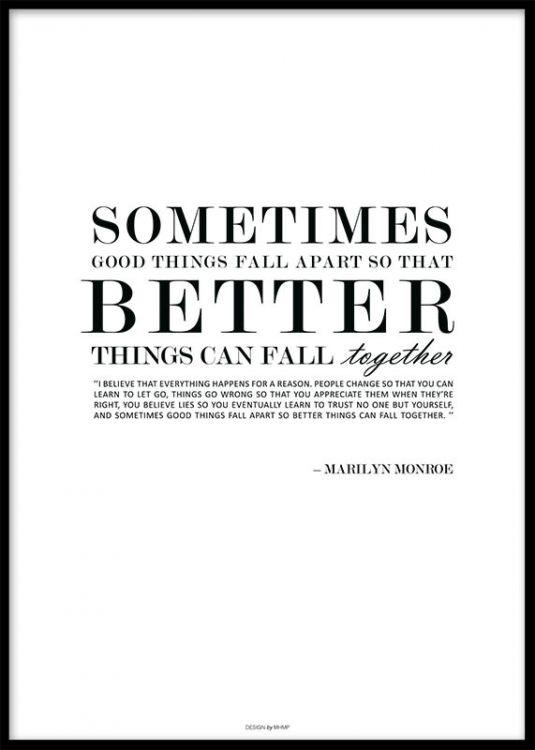 Text poster med Marilyn Monroe citat, design MHMP