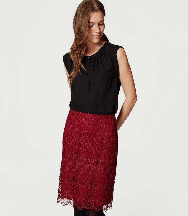 LOFT Petite Floral Lace Pencil Skirt