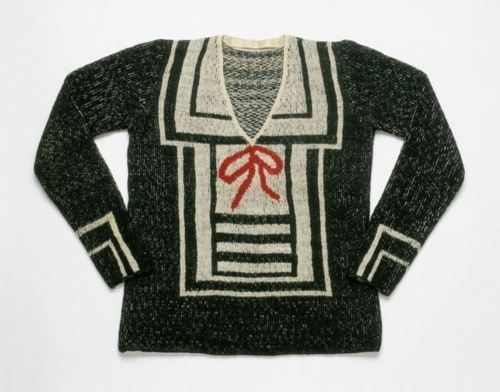 Another early Schiaparelli trompe-l'oeil sweater, this one from the summer of 1928.