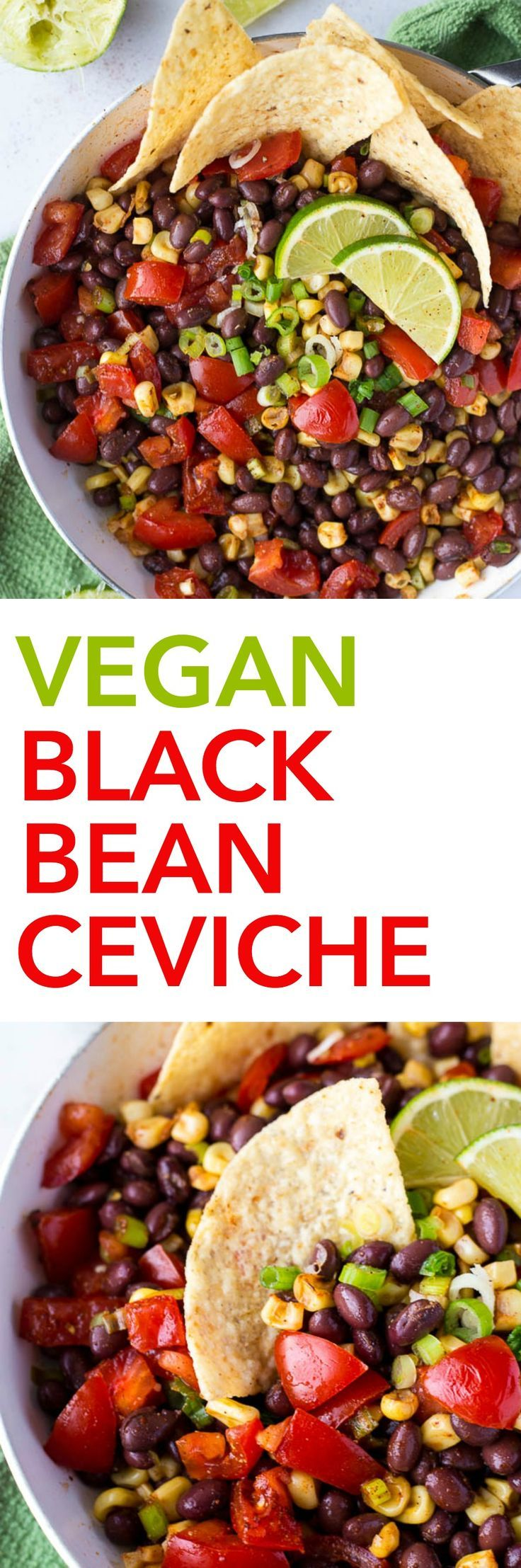 Vegan Black Bean Ceviche: A fresh, flavorful, gluten free, and plant-based ceviche that takes only 15 minutes to prepare! Serve it with tacos, with tortilla chips, or in lettuce wraps! || http://fooduzzi.com recipe