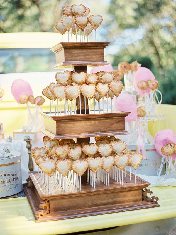 heart-shaped pie pops, photo by Michele Beckwith http://ruffledblog.com/the-notebook-inspired-wedding #desserts #weddingdessert