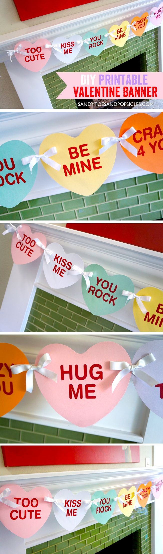 DIY Valentine's Day Banner. Free Printable Valentine decoration.