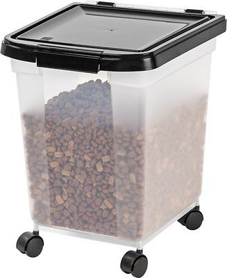 IRIS Airtight Pet Food Storage Container, Clear/Black, 12.75-qt - Chewy.com