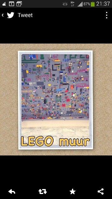Lego muur met opvangbak eronder