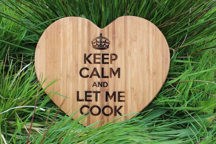 """KEEP CALM"" Heart Shape Personalised Chopping Board"