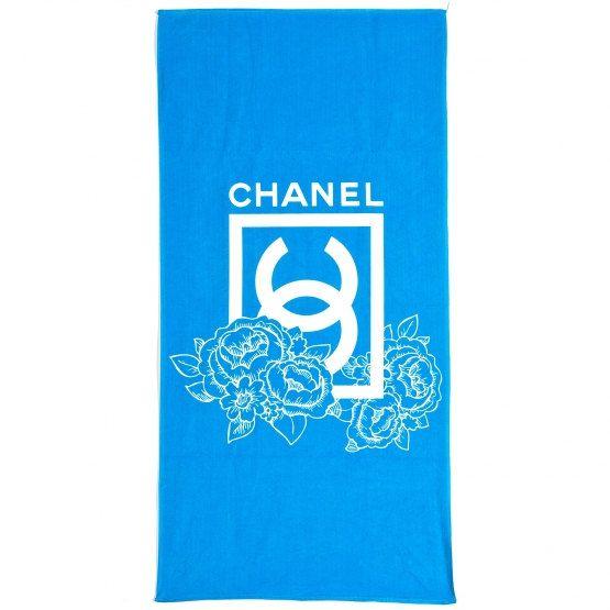 Chanel Beach Towel Print Bath Blue White Rose by xperience03