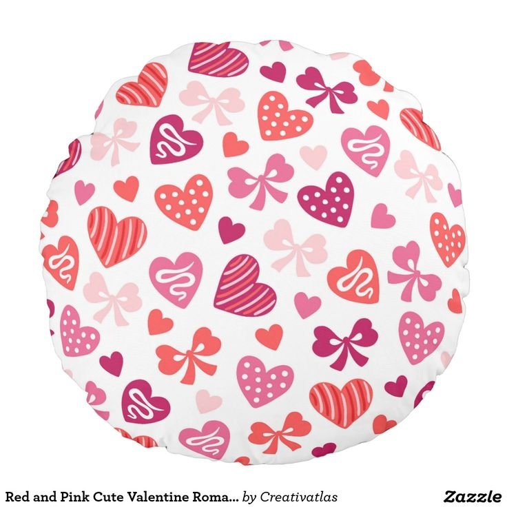 Pillows | Red and Pink Cute Valentine Romantic Hearts love Round Pillow | Home Decor