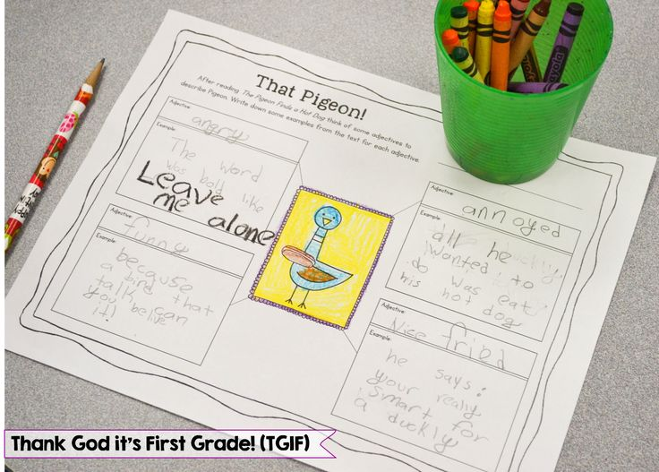 Describe Pigeon using evidence from the text! This and lots more Mo Willems activities!