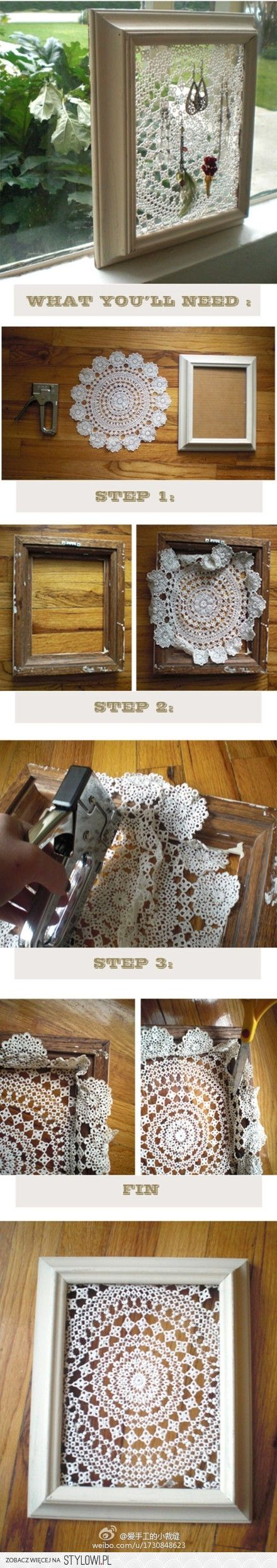 DIY Framed Doily. U can do so much with this idea!