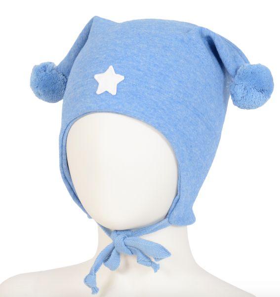 Flott lue med dusker i blå. Stjerne foran. Vindtett over ører. COTWOOL materiale kan benyttes hele året. Klør ikke og kan vaskes på 60 grader. 58% bomull, 40% merinou