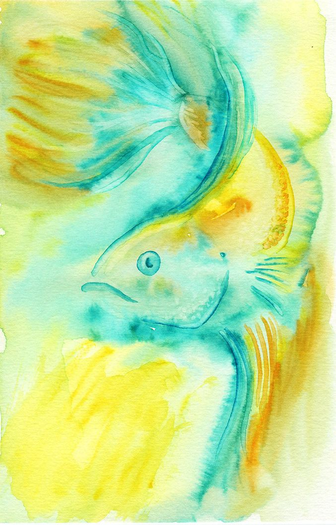 "A watercolor painting of a betta fish, painted in shades of blue, yellow and green. You get an 8.5"" x 11"" signed print of this betta painting. Limited print run. Siamese Fighting Fish, Watercolor Bett"