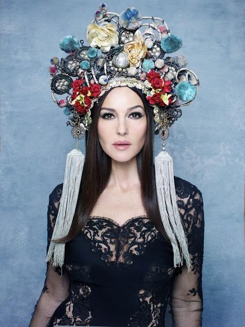 russian inspired headdress Monica Bellucci