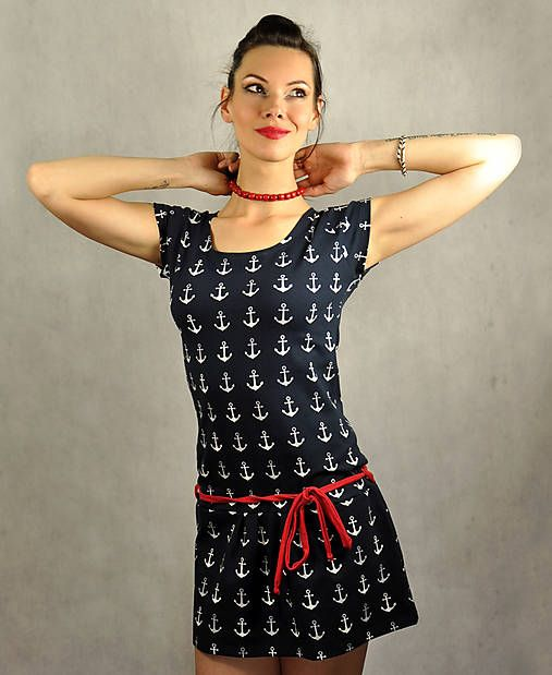 LucLac / Letné šaty s kotvičkami - Anchor
