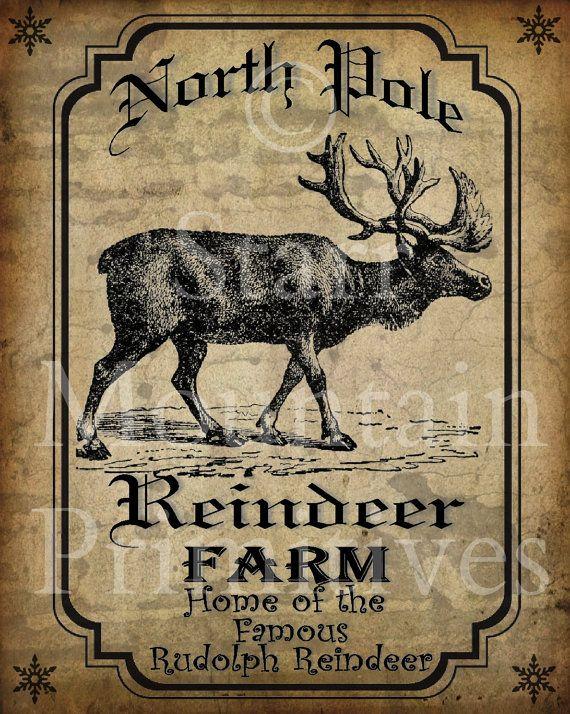 Primitive Vintage Reindeer Farm Rudolph Christmas Pantry Logo Label Jpeg Digital File for Crock Jar, Labels, Pillows, Doll