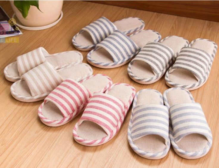 Hot Women's Mens Living Room Open Toe Striped Slippers Casual Bedroom Non-Slip