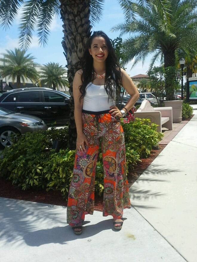 Printed Palazzo Pants with a White Tank ~ Apricot Lane Boutique South Florida