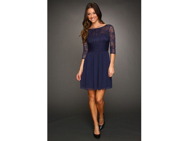 Jasmine Lace Sleeved Dress Women's Dress - Navy