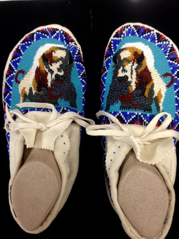 Men's size 11 full beaded moccasins by BeadworkMasterPieces