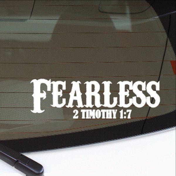 Fearless christian vinyl car decal 22553