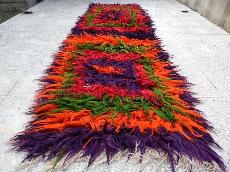 3.3x10.4 ft. Colorful Turkish Shaggy Tulu Rug Runner,Long Pile Filikli Shag Rugs #Turkish