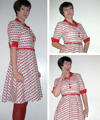 The amanita dress. First dress from self-drafted pattern. Fun!