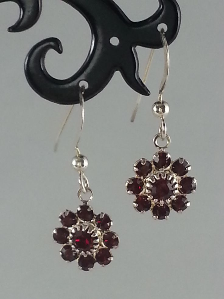 Siam red Swarovski crystals on sterling silver earrings