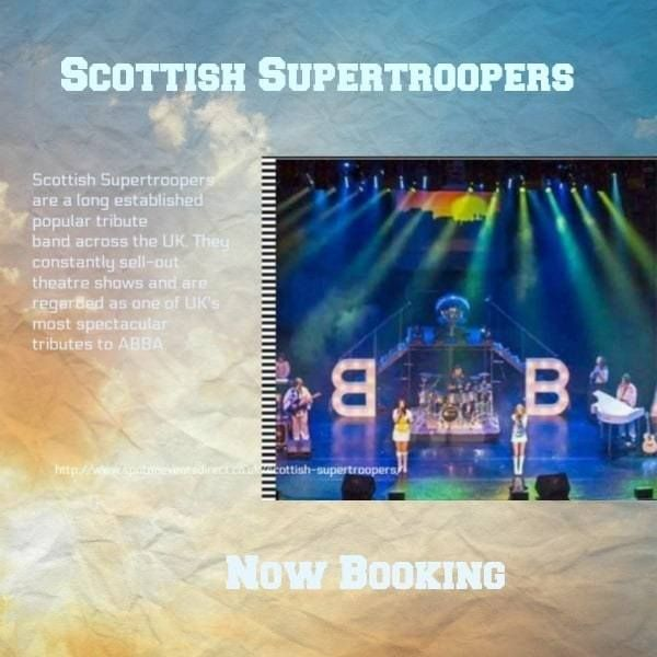 Scottish Supertroopers are a long established popular tribute band across the UK. They constantly sell-out theatre shows and are regarded as one of UK's most spectacular tributes to ABBA. The show covers all of ABBA's well-known hits and equally brilliant less-known album tracks to an extremely high standard. The band formed in 2003 and now commands an unsurpassed reputation for faithful reproduction ABBA's complexity of both music and harmony.