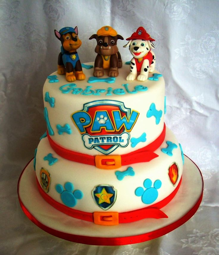 We especially love the sweet pups that top off this awesome PAW Patrol cake!