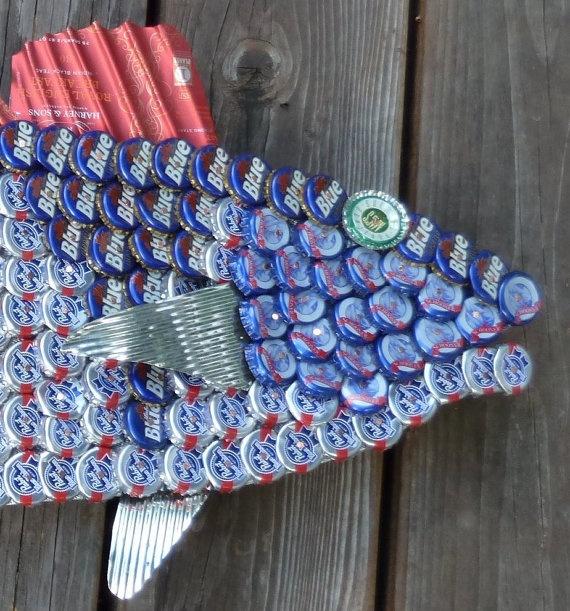 Folk art catfish beer cap fish brewfins bottle caps for How to make beer bottle cap art