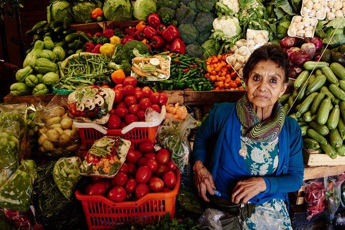 Fruit and Vegetable Vendor at the San Juan de Dios Market, San Miguel de Allende, Guanajuato, Mexico