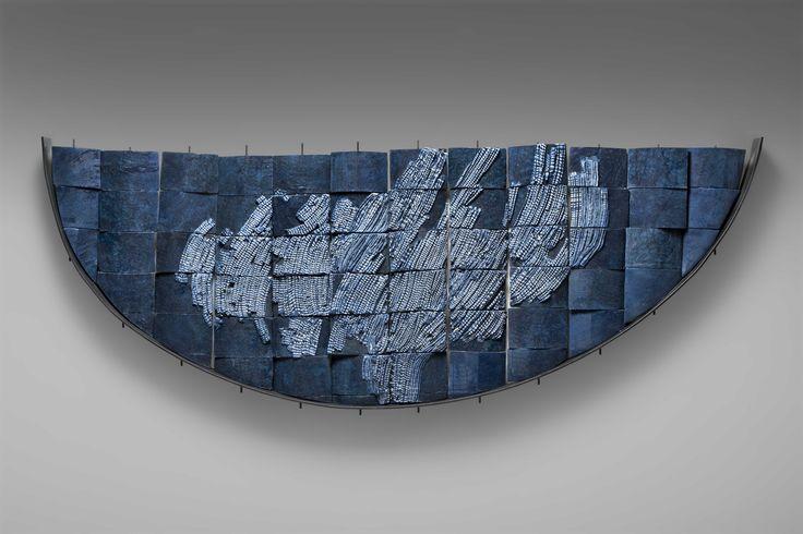 obra mural , 120 x 165 x 10 cm , ceramica gres , hierro